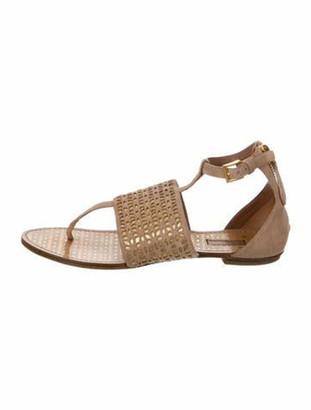 Alaia Suede Laser-Cut Sandals Pink