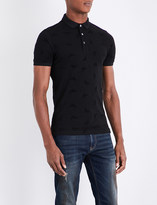 Armani Jeans Eagle-flocked stretch-cotton piqué polo shirt