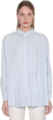 RED Valentino Striped Maxi Poplin Shirt W/ Pleats
