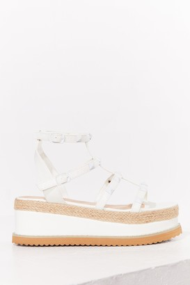 Nasty Gal Womens I'll Be Stud to You Faux Leather Platform Sandals - White