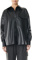 Tibi Faux Leather Relaxed Utility Blouse