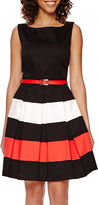 Tiana B Sleeveless Colorblock Fit-and-Flare Dress