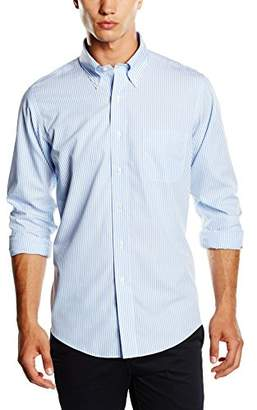 Brooks Brothers Men's Dress Non-Iron Botton Down Milano Stripe Shirt, (Light/Pastel Blue 30), (Neck in. 17 Sleeve in. 36)