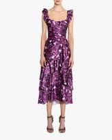 Marchesa Charm Ruffle Cocktail Dress
