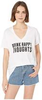 Original Retro Brand The Drink Happy Thoughts Slub Boyfriend V-Neck (White) Women's Clothing