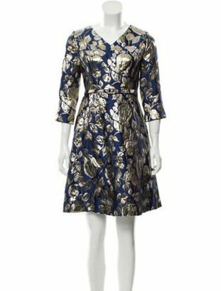 Oscar de la Renta Brocade Mini Dress Blue