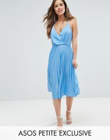 Asos Blouson Wrap Pleated Midi Dress