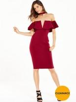 Rare Ruffle Choker Midi Dress