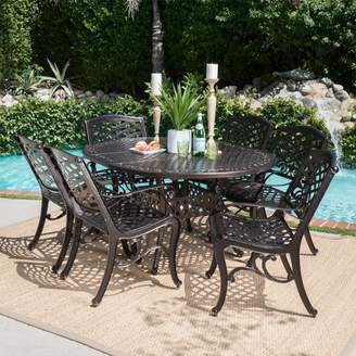 Christopher Knight Home Windley 7pc Aluminum Dining Set - Hammered Bronze