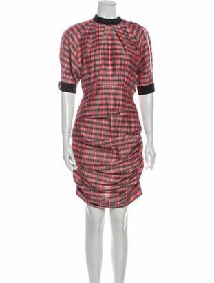 Isabel Marant Plaid Print Knee-Length Dress Pink