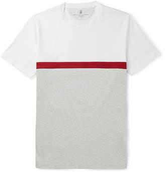 Brunello Cucinelli Panelled Striped Cotton-Jersey T-Shirt