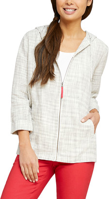 Nic+Zoe Early Bird Zip-Front Hooded Linen Jacket