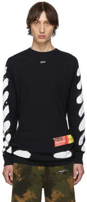 Off-White Off White SSENSE Exclusive Black Incomplete Spray Paint Long Sleeve T-Shirt