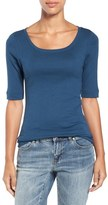 Caslon Ballet Neck Cotton & Modal Knit Elbow Sleeve Tee (Regular & Petite)