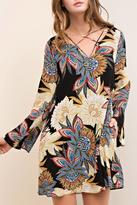 Entro Printed V Neck Dress