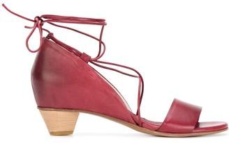 Del Carlo Ankle Tie Low Heel Sandals