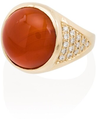 Jacquie Aiche 14kt Rose Gold Carnelian Diamond Ring