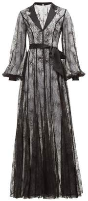 Agent Provocateur Rozlyn Satin Trimmed Lace Robe - Womens - Black