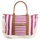 Merona Women's Multistriped Canvas Tote Handbag with Removable Crossbody Strap Handbag Pink/White