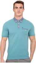 Original Penguin Short Sleeve Shadow Stripe Polo with Chambray Collar