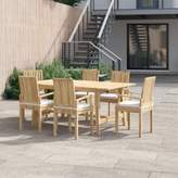 Anthony Logistics For Men Foundstone Outdoor Patio 7 Piece Teak Dining Set with Cushion Foundstone