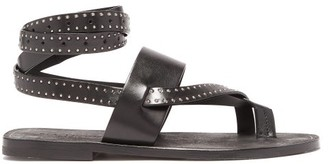 Saint Laurent Culver Studded Wraparound Leather Sandals - Black