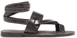 Saint Laurent Culver Studded Wraparound Leather Sandals - Womens - Black