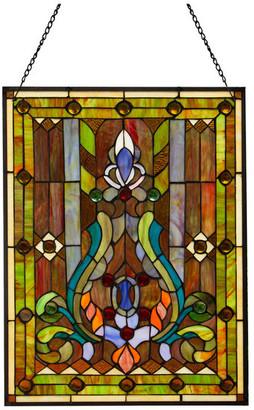 "River Of Goods 24.75"" Stained Glass Fleur de Lis Window Panel, Multicolor"