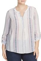 Nic And Zoe Plus Nic and Zoe Plus Silk Stripe Roll-Sleeve Top
