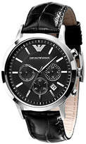 Emporio Armani Men's Black Dial with Black Leather Strap Chronograph Watch