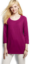 Classic Women's 3/4 Sleeve Tunic Top-Soft Plum Multi Stripe