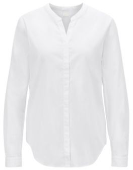BOSS Relaxed-fit cotton-poplin blouse with notched neckline