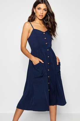 boohoo Button Front Pocket Detail Midi Dress
