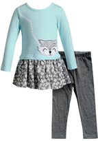 Youngland Toddler Girl Fox Applique Floral Dress & Leggings Set