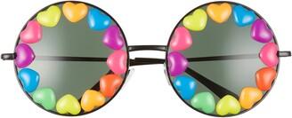 Rad + Refined Rainbow Heart Round Sunglasses