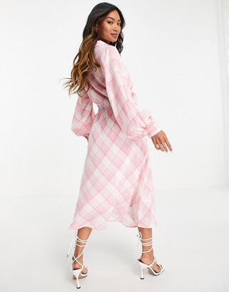 Lost Ink midaxi shirt dress with tie front in neon plaid