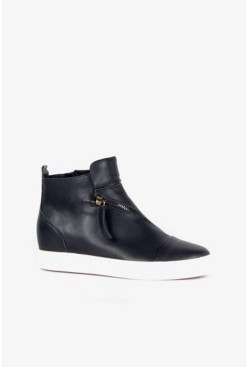 All Black Women's High Top Zip Wedge Sneaker Women's Shoes