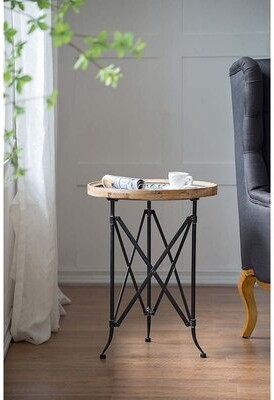 Thumbnail for your product : World Menagerie Francky Classic Vintage Wood and Metal Round Tray Table