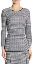 St. John Wool Houndstooth Plaid Top