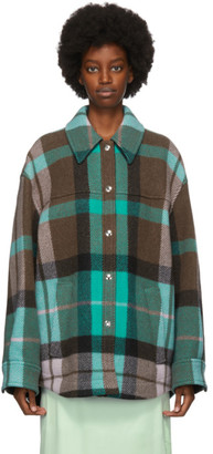 Acne Studios Green and Pink Wool Checkered Overshirt Jacket