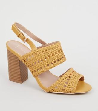 New Look Wide Fit Woven 2 Part Block Heels