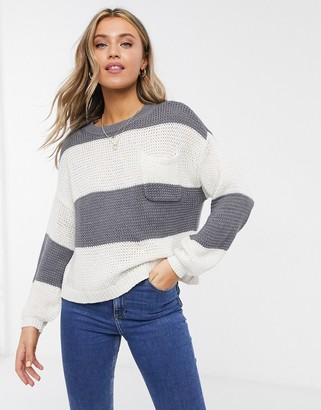 American Eagle relaxed jumper in grey stripe
