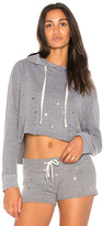 Monrow Oversized Cropped Hoodie in Gray