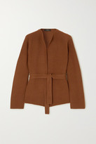 Theory Belted Ribbed Wool And Cashmere-blend Cardigan - Camel