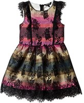 GUESS Multi Stripe and Black Lace Overlay Dress