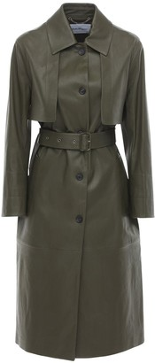 Salvatore Ferragamo Belted Stretch Leather Trench Coat