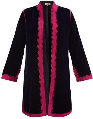 Muzungu Sisters - Fatima Woven-trim Velvet Jacket - Navy Multi