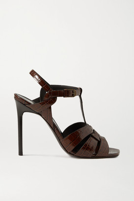 Saint Laurent Tribute Woven Croc-effect Leather Sandals - Chocolate