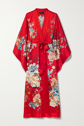 MENG Belted Floral-print Silk-satin Robe - Red