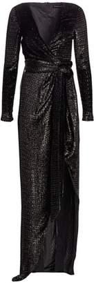 Brandon Maxwell Lurex Faux Wrap Metallic Gown